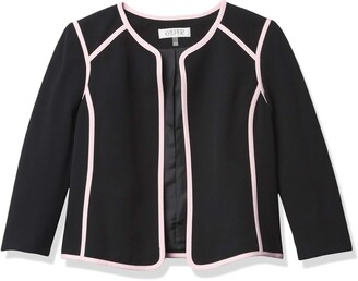 Kasper Women's Petite Size Solid Jewel Neck Flyaway Jacket with Pink Trim