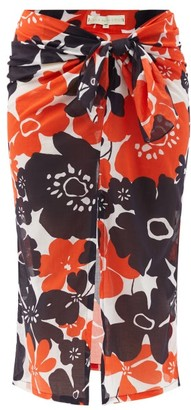 Cala De La Cruz - Heather Peony-print Cotton-voile Sarong - Orange Print