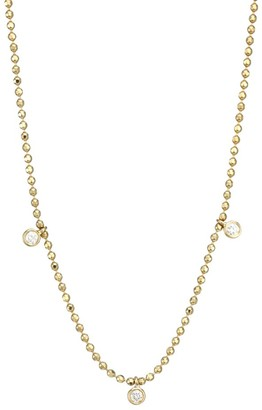 Ef Collection 14K Yellow Gold & Triple Diamond Faceted Chain Necklace