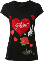 Philipp Plein rose and heart print T-shirt - women - Cotton - XS
