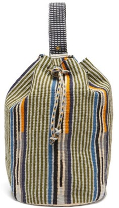 Guanabana - Tula Striped Woven Backpack - Green