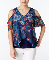 Amy Byer Juniors' Printed Cold-Shoulder Blouse