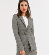 Y.A.S Tall Silla long sleeve check blazer two-piece