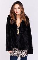 MUMU Fischer Fur Jacket ~ Black Jag Faux Fur