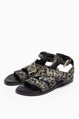 Topshop HAMPTON Grey Leather Sandals