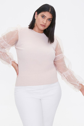 Forever 21 Plus Size Sheer-Sleeve Sweater