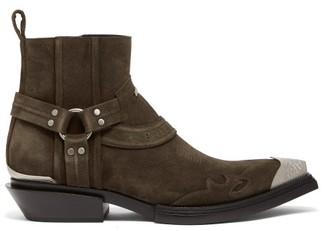 Balenciaga Santiag Harness Suede Western Boots - Mens - Brown