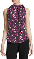 Liz Claiborne Sleeveless Tie-Neck Print Top