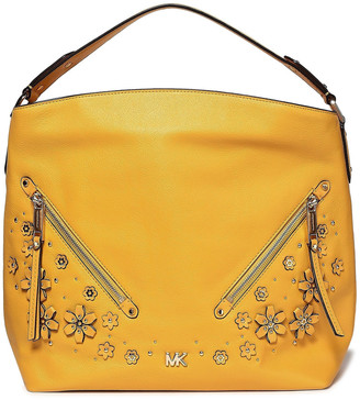 MICHAEL Michael Kors Evie Embellished Textured-leather Shoulder Bag