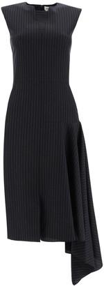 Alexander McQueen Pinstripe Asymmetric Draped Dress