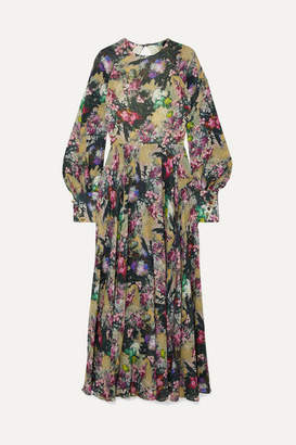 Rotate by Birger Christensen Open-back Floral-print Crepe Maxi Dress - Sage green
