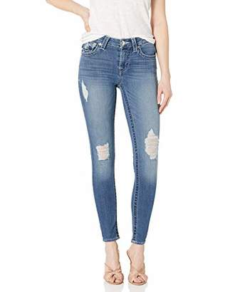 True Religion Women's Jennie Mid Rise Skinny Leg fit Jean with Back Flaps and Destruction