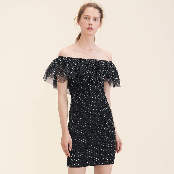 Maje Polka-dot draped dress