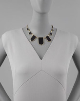 House Of Harlow Geometric Leather-Inlay Station Necklace, Black