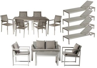Wade Logan CHSTR 15 Piece Complete Patio Set with Cushions Frame Color: Brushed Silver , Cushion Color: Gray