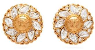 Versace Medusa Flower Crystal Clip Earrings - Womens - Crystal