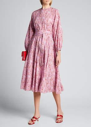 Rhode Resort Devi Long-Sleeve Cotton Tie-Waist Dress