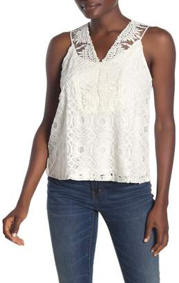 Forgotten Grace Crochet Lace Knit Tank Top
