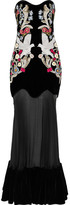 Alexander McQueen Embellished Velvet And Silk-tulle Gown - Black