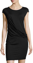 Three Dots Maha Drape-Front Dress, Black