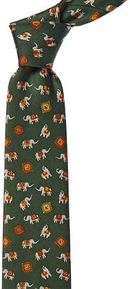 Salvatore Ferragamo Green Elephants Silk Tie