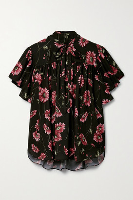 Adam Lippes Tie-neck Floral-print Crepe De Chine Top - Black