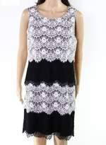 Jessica Simpson Black Women's Size 8 Colorblock Lace Tiered Dress