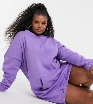 Asos DESIGN Curve organic front pocket sweat dress-Purple