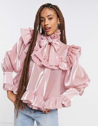 Sister Jane relaxed smock blouse with pussybow in light pink soft organza