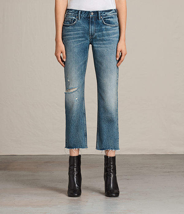AllSaints Serene Destroy Kick Flare Jeans
