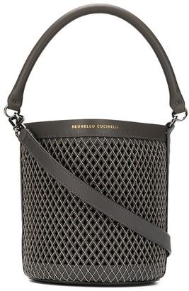 Brunello Cucinelli Micro-Stud Weave Bucket Bag