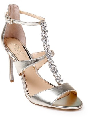 Badgley Mischka Mica Crystal Embellished Strappy Sandal