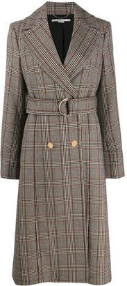 Stella McCartney Check Print Long Belted Coat