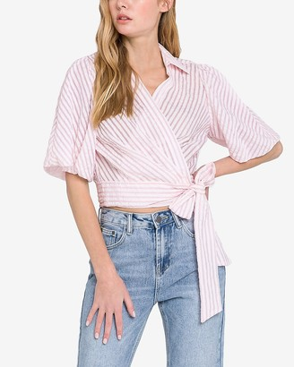 Express English Factory Striped Wrap Front Tie Top