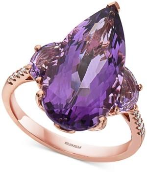 Effy Amethyst (8-1/2 ct. t.w.) & Diamond (1/20 ct. t.w.) Statement Ring in 14k Rose Gold