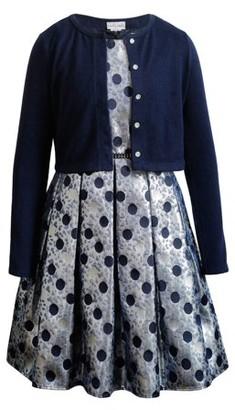 Youngland Holiday Metallic Sleeveless Printed Dress With Cardigan (Little Girls & Big Girls)