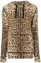 Dolce & Gabbana leopard print cashmere hoodie