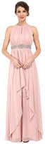 Eliza J Keyhole Bodice Dress with Beaded Waist and Layered Skirt