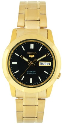 Seiko Men's SNKK22 Gold Plated Stainless Steel Analog with Black Dial Watch