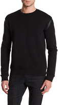HUGO BOSS Long Sleeve Leather Contrast Pullover