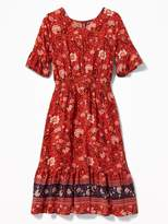 Old Navy Smocked-Waist Floral-Print Midi for Girls