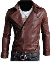 Legou Men's Classic Police Style Faux Leather Motorcycle Jacket XL