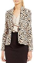 Calvin Klein Leopard Print One Button Jacket