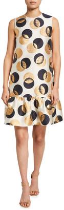 Akris Punto Metallic Dot Sleeveless Flounce-Hem Jacquard Dress