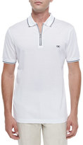 Salvatore Ferragamo Zip Polo Shirt, White