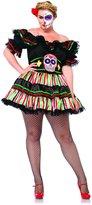 Leg Avenue Women's Plus-Size 2 Piece Day Of The Dead Doll Costume