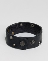 Diesel A-Whyse Leather Cuff Bracelet In Black