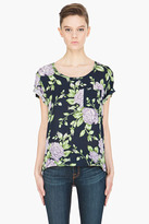 RAG & BONE navy rose-print silk T-shirt