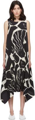 Issey Miyake Black and White Cuddle Pleats Dress