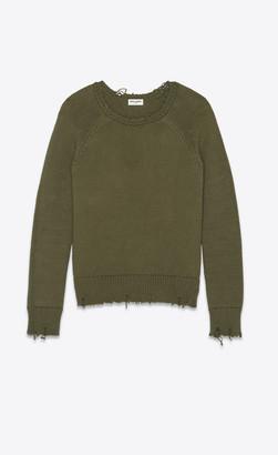 Saint Laurent Destroyed Knit Sweater Khaki L